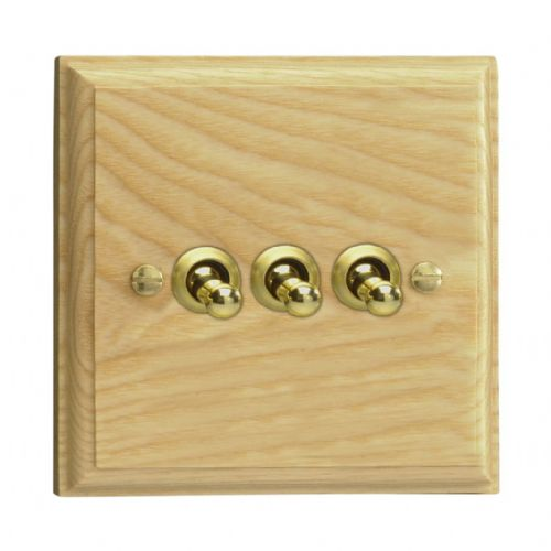 Varilight XKT3A Kilnwood Ash 3 Gang 10A 1 or 2 Way Toggle Light Switch